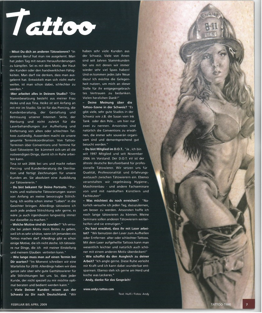 Tattoo Time Ausgabe 10 Februar April 2009 Tattoo Artist Andy Engel