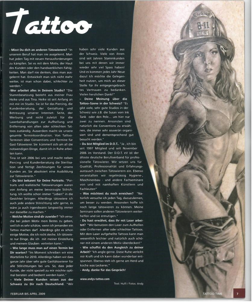 Tattoo Time Ausgabe 10 Februar April 2009 Tattoo Artist Andy Engel